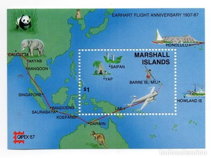 ISLAS MARSHALL - C. AEREO - AÑO 1987 - 50 ANIV. DE INTENTO DE VUELO ALREDEDOR MUNDO AMELIA EARHART (Sellos - Extranjero - Oceanía - Otros paises)