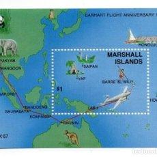 Sellos: ISLAS MARSHALL - C. AEREO - AÑO 1987 - 50 ANIV. DE INTENTO DE VUELO ALREDEDOR MUNDO AMELIA EARHART. Lote 236264880