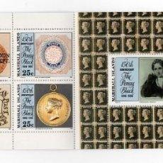 Sellos: ISLAS MARSHALL - 150 ANIVERSARIO DEL PENNY BLACK - AÑO 1990 - 1 CARNET S.C. NUEVO Y PERFECTO. Lote 236371885