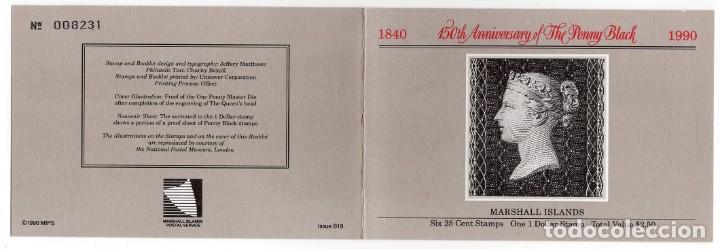 Sellos: ISLAS MARSHALL - 150 ANIVERSARIO DEL PENNY BLACK - AÑO 1990 - 1 CARNET S.C. NUEVO Y PERFECTO - Foto 3 - 236371885