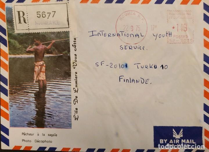O) 1975 NUEVA CALEDONIA, SELLO DE METRO, FOTO ILE DE LUMIERE. PAISAJE, A FINLANDIA (Sellos - Extranjero - Oceanía - Otros paises)