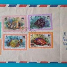 Sellos: TUVALU CARTA CORREO AEREO 1979, 6 SELLOS CON MATASELLOS DE FUNAFUTI. Lote 244446940