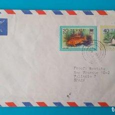 Sellos: TUVALU CARTA CORREO AEREO 1979, 2 SELLOS CON MATASELLOS DE FUNAFUTI. Lote 244447620