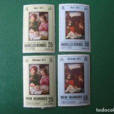 Sellos: NUEVAS HEBRIDAS, 1971, NAVIDAD, YVERT 314/17. Lote 244584375