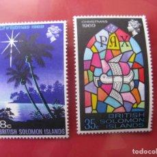 Sellos: ISLAS SALOMON, 1969, NAVIDAD, YVERT 183/4. Lote 244661150