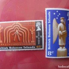 Sellos: ISLAS SALOMON, 1970, NAVIDAD, YVERT 193/4. Lote 244661785