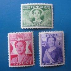Sellos: +TONGA, 1950, 50 ANIV. DE LA REINA SALOTE, YVERT 91/3. Lote 244727700