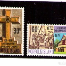 Sellos: NORFOLK 1975 IVERT 171/72 *** CENTENARIO DE LA CAPILLA DE SAN BARNABAS - RELIGIÓN. Lote 253275965