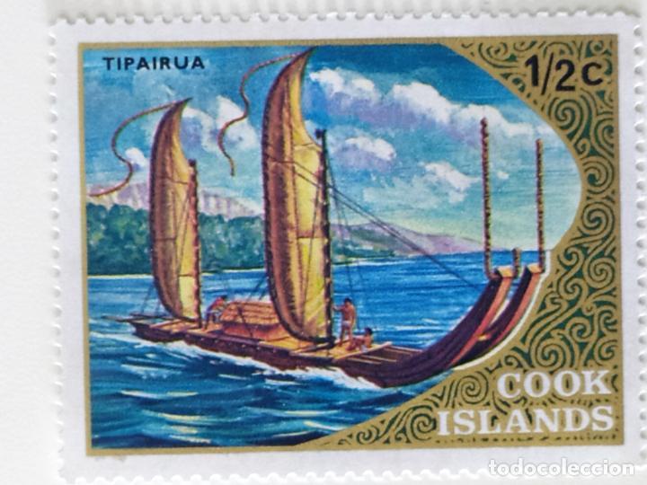 SELLO DE ISLAS COOK 1/2 C - 1973 - BARCOS DE VELA - NUEVO SIN SEÑAL DE FIJASELLOS (Sellos - Extranjero - Oceanía - Otros paises)
