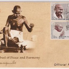 Sellos: FIJI 2018 FDC THE 150TH ANNIVERSARY OF THE BIRTH OF MAHATMA GANDHI - CELEBRITIES. Lote 261240680