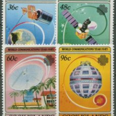 Sellos: COOK 1983 IVERT 738/41 *** AÑO MUNDIAL DE LAS COMUNICACIONES - SATELITES. Lote 276368403