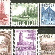 Sellos: NORFOLK SERIE COMPLETA X 6 SELLOS NUEVOS AVION PUENTE 1954. Lote 277410178