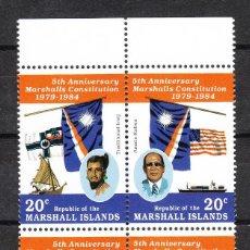 Sellos: MARSHALL ISLANDS - 1984 QUINTO ANIVERASARIO CONSTITUCIÓN SERIE COMPLETA **. Lote 287228893