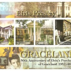 Sellos: DOMINICA. GRACELAND. CASA DE ELVIS PRESLEY.. Lote 288046398