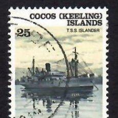 Sellos: COCOS (KEELING) (1976). BARCOS: T.S.S. ISLANDER. YVERT Nº 26. USADO.. Lote 288340453
