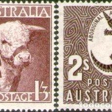 Sellos: AUSTRALIA 2 SELLOS MINT FAUNA TORO HEREFORD COCODRILO 1948. Lote 294250963