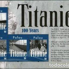 Sellos: 2012 ANIVERSARIO NAUFRAGIO TITANIC PALAU 2 BLOQUES MNH. Lote 294261298