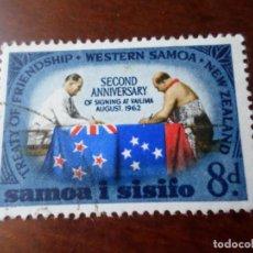 Sellos: SAMOA I SISIFO, 1964, 2 ANIV.TRATADO DE AMISTAD CON NUEVA ZELANDA, YVERT 179. Lote 294572198