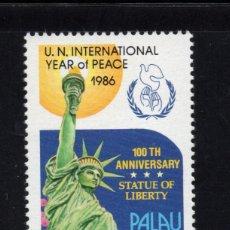 Sellos: PALAU AEREO 17** - AÑO 1986 - CENTENARIO DE LA ESTATUA DE LA LIBERTAD. Lote 295353733