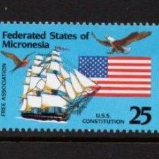 Sellos: MICRONESIA 148/50** - AÑO 1990 - LIBRE ASOCIACION CON ESTADOS UNIDOS - BARCOS. Lote 295354728