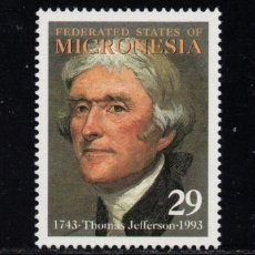 Sellos: MICRONESIA 229** - AÑO 1993 - 250º ANIVERSARIO DEL NACIMIENTO DE THOMAS JEFFERSON. Lote 295354923