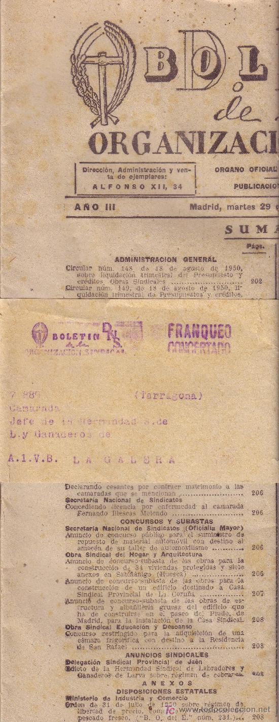 ESPAÑA. 1950. BOLETIN DE LA ORGANIZACIÓN SINDICAL DE MADRID. MARCA *FRANQUEO/CONCERTADO*. MUY RARO. (Sellos - España - II Centenario De 1.950 a 1.975 - Cartas)