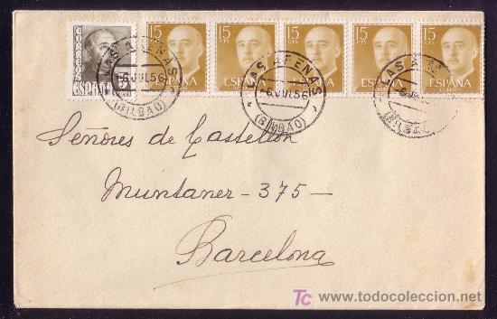 ESPAÑA. (CAT. 1020,1144).1956.SOBRE DE LAS ARENAS. SEIS SELLOS. MAT. *LAS ARENAS/BILBAO*. MAGNÍFICA. (Sellos - España - II Centenario De 1.950 a 1.975 - Cartas)