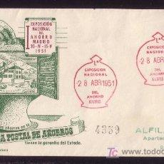Sellos: ESPAÑA.(CAT.1091).1951.SOBRE CERTIFICADO DE MADRID.FRANQUEO 1 PTA. MAT. ESPECIAL ROJO.LLEGADA.MAGFCA. Lote 25922878