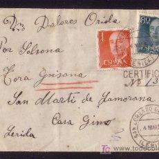 Sellos: ESPAÑA.(CAT.1152,1153).1957.SOBRE CERT. DE SAN LORENZO DE MORUNYS (LÉRIDA).MAT. FECHA.LLEGADA.RARA.. Lote 27441357