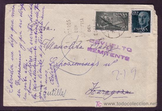 ESPAÑA.(CAT.1152,1169).1959.SOBRE DE FONTILLES (ALICANTE).MARCA *DEVUELTO AL REMITENTE*.LLEGADA.RARA (Sellos - España - II Centenario De 1.950 a 1.975 - Cartas)