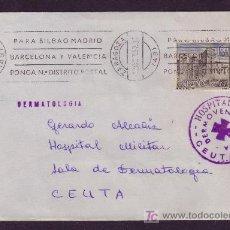 Sellos: ESPAÑA.(CAT.1732).1967.SOBRE DE ZARAGOZA A CEUTA.MAT. RODILLO.MARCA HOSPITAL MILITAR DE CEUTA. LUJO.. Lote 26813955