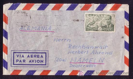 ESPAÑA.(CAT. 945).1952.SOBRE DE CORREO AÉREO DE TENERIFE A ALEMANIA.2 PTAS. DE LA CIERVA.MUY BONITA. (Sellos - España - II Centenario De 1.950 a 1.975 - Cartas)