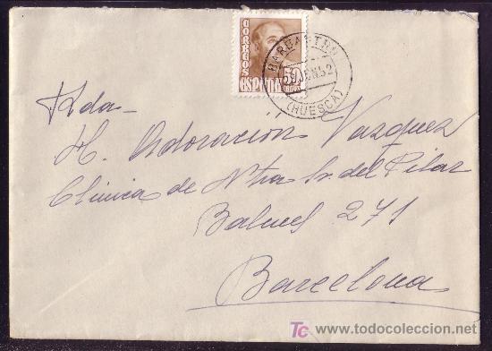 ESPAÑA.(CAT.1022). 1952. SOBRE DE BARBASTRO A BARCELONA. 50 CTS. MAT. *BARBASTRO/HUESCA*. MAGNÍFICA. (Sellos - España - II Centenario De 1.950 a 1.975 - Cartas)