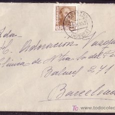 Sellos: ESPAÑA.(CAT.1022). 1952. SOBRE DE BARBASTRO A BARCELONA. 50 CTS. MAT. *BARBASTRO/HUESCA*. MAGNÍFICA.. Lote 26634824