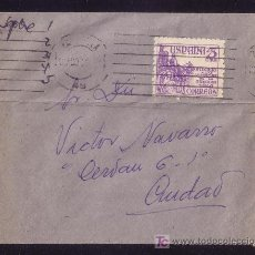 Sellos: ESPAÑA.(CAT.1062).1950.SOBRE DE CORREO INTERIOR DE ZARAGOZA.FRANQUEO IMPRESOS VÍCTIMAS DE LA GUERRA.. Lote 26679854
