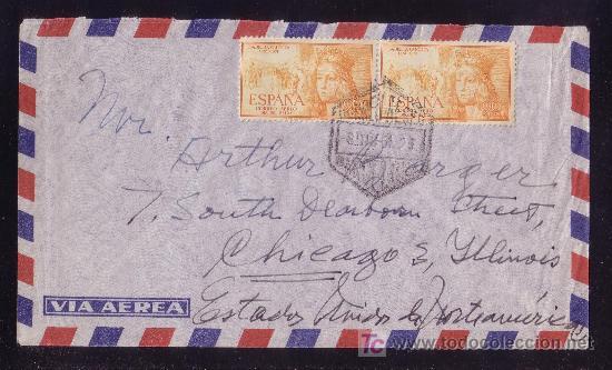 ESPAÑA. (CAT. 1098). 1951. SOBRE DE CORREO AÉREO DE BARCELONA A EE.UU. PAREJA 90 C. ISABEL. BONITA. (Sellos - España - II Centenario De 1.950 a 1.975 - Cartas)