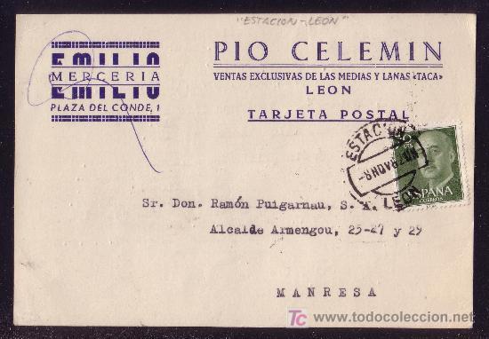 ESPAÑA. (CAT. 1151). 1962. T.P. DE LEÓN A MANRESA. 70 CTS. MAT. * ESTACIÓN/LEÓN *. MAGNÍFICA. (Sellos - España - II Centenario De 1.950 a 1.975 - Cartas)