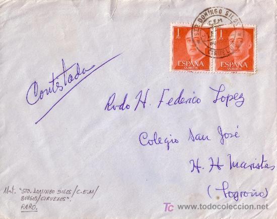 ESPAÑA. 196.. SOBRE DE STO. DOMINGO DE SILOS (BURGOS). MAT. FECHADOR C.E.M CIRUELOS. RARO. (Sellos - España - II Centenario De 1.950 a 1.975 - Cartas)