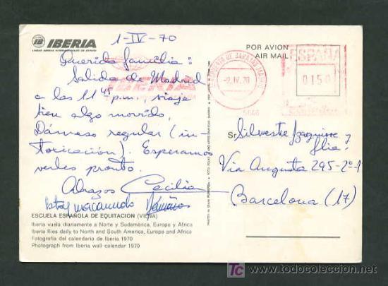 CIRCULADA MADRID A BARCELONA. RODILLO IBERIA BARAJAS-MADRID, 9 ABRIL 1970. (Sellos - España - II Centenario De 1.950 a 1.975 - Cartas)