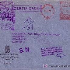 Sellos: ESPAÑA. 1972. SOBRE CERT. DE MADRID A ZARAGOZA. MARCA FRANQUICIA Y FRANQUEO MECÁNICO. MAGNÍFICA.. Lote 24540244