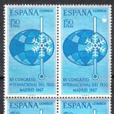 Sellos: ESPAÑA 1967 - BLOQUE DE CUATRO EDIFIL 1817. CONGRESO FRIO. NUEVO SIN CHARNELA. Lote 8191234