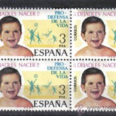 Sellos: BLOQUE DE CUATRO - 1975 EDIFIL 2282 - PRO-DEFENSA DE LA VIDA - NUEVOS SIN CHARNELA. Lote 8217161