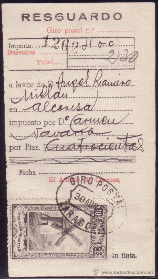 ESPAÑA. VIÑETA.1952. RESGUARDO. MUTUALIDAD DE CORREOS. MAT. GIRO POSTAL/ZARAGOZA. MAGNÍFICO Y RARO. (Sellos - España - II Centenario De 1.950 a 1.975 - Cartas)