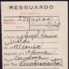 Sellos: ESPAÑA. VIÑETA.1952. RESGUARDO. MUTUALIDAD DE CORREOS. MAT. GIRO POSTAL/ZARAGOZA. MAGNÍFICO Y RARO.. Lote 26837387