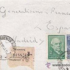 Sellos: SOBRE DIRIGIDO AL GENERAL FRANCO DESDE BUENOS AIRES. 29 DE SEPTIEMBRE DE 1965. . Lote 11920510