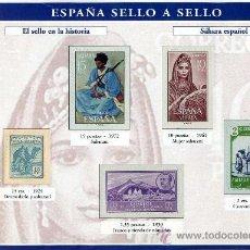 Sellos: HOJA CON REPRODUCCIONES AUTORIZADA POR CORREOS DEL SAHARA ESPAÑOL +ENTIENDA. Lote 18219650