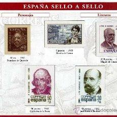 Sellos: HOJA CON REPRODUCCIONES AUTORIZADA POR CORREOS DE PERSONAJES LITERARIOS +ENTIENDA. Lote 25005642