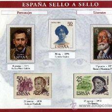 Sellos: HOJA CON REPRODUCCIONES AUTORIZADA POR CORREOS DE PERSONAJES LITERARIOS +ENTIENDA. Lote 13636727