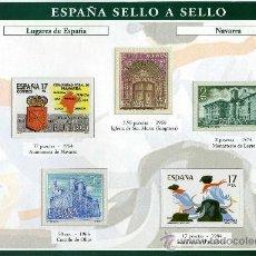 Sellos: HOJA CON REPRODUCCIONES AUTORIZADA POR CORREOS DE LUGARES DE ESPAÑA NAVARRA +ENTIENDA. Lote 13636738
