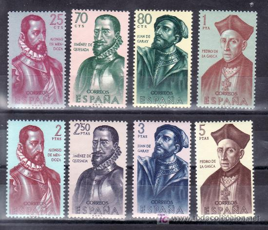 ESPAÑA 1454/61 SIN CHARNELA, FORJADORES DE AMERICA (Sellos - España - II Centenario De 1.950 a 1.975 - Usados)